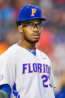 Florida Gators outfielder Buddy Reed (23) before the NCAA College baseball World Series against the Virginia Cavaliers on June 15, 2015 at TD Ameritrade Park in Omaha, Nebraska. Virginia defeated Florida 1-0. (Andrew Woolley/Four Seam Images)