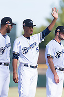 Peoria Javelinas pitcher Miguel Sanchez (35), of the Milwaukee Brewers organization, during player introductions before the Arizona Fall League Championship game against the Salt River Rafters at Scottsdale Stadium on November 17, 2018 in Scottsdale, Arizona. Peoria defeated Salt River 3-2 in 10 innings. (Zachary Lucy/Four Seam Images)