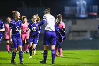 Laura De Neve (8) of Anderlecht pictured celebrating with Laura Deloose (14) of Anderlecht after scoring a goal during a female soccer game between RSC Anderlecht Dames and Sporting Charleroi on the 13 th matchday of the 2020 - 2021 season of Belgian Womens Super League , friday 5 th of February 2021  in Tubize , Belgium . PHOTO SPORTPIX.BE | SPP | DAVID CATRY