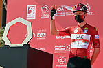 Race leader Tadej Pogacar (SLO) UAE Team Emirates at sign on before the start of Stage 3 of the 2021 UAE Tour running 166km from Al Ain to Jebel Hafeet, Abu Dhabi, UAE. 23rd February 2021.  <br /> Picture: LaPresse/Gian Mattia D'Alberto | Cyclefile<br /> <br /> All photos usage must carry mandatory copyright credit (© Cyclefile | LaPresse/Gian Mattia D'Alberto)