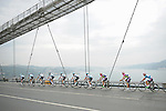 The peloton cross The Bosphorus during Stage 8 of the 2015 Presidential Tour of Turkey running 124km from Istanbul to Istanbul. 3rd May 2015.<br /> Photo: Tour of Turkey/Mario Stiehl/www.newsfile.ie
