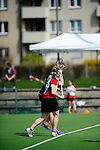 FRANKFURT AM MAIN, GERMANY - April 14: Eva Schulte #12 of Germany and Judith Steiner #12 of Austria during the Deutschland Lacrosse International Tournament match between Germany vs Austria on April 14, 2013 in Frankfurt am Main, Germany. Germany won, 10-4. (Photo by Dirk Markgraf)