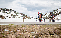 Jens Keukeleire (BEL/EF Education - Nippo) & Kilian Frankiny (SUI/Qhubeka ASSOS) up the Passo San Bernardino (2065m/SUI)<br /> <br /> 104th Giro d'Italia 2021 (2.UWT)<br /> Stage 20 (through Switzerland) from Verbania to Valle Spluga-Alpe Motta (164km)<br /> <br /> ©kramon