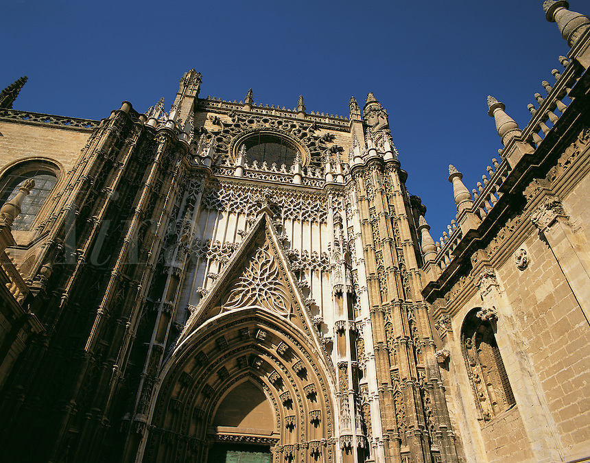 The main facade of the cathedral, Seville, southern Spai