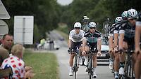 Team Etixx-Quickstep at recon in the morning with Mark Cavendish (GBR/Etixx-QuickStep) & Michal Kwiatkowski (POL/Etixx-Quickstep) following the 'Wolf Pack'.<br /> <br /> stage 9: TTT Vannes - Plumelec (28km)<br /> 2015 Tour de France