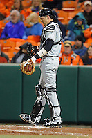 South Carolina Gamecocks catcher Grayson Greiner #21  during a game against the Clemson Tigers at Doug Kingsmore Stadium on March 1, 2013 in Clemson, South Carolina. The Gamecocks won 6-0.(Tony Farlow/Four Seam Images).