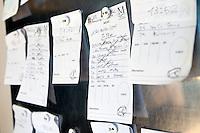 Order board in the kitchen of restaurant Mirazur, Menton, France, 18 September 2013