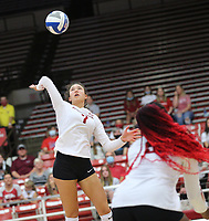 Arkansas Sophomore Taylor Head (7) goes up for spike on Sunday, Oct. 10, 2021, during play at Barnhill Arena, Fayetteville. Visit nwaonline.com/211011Daily/ for today's photo gallery.<br /> (Special to the NWA Democrat-Gazette/David Beach)