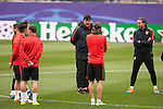 Atletico de Madrid's player Filipe Luis talks with Assistant Mono Burgos during the practice session the day before the EUFA Champions League match between Atletico de Madrid and FC. Barcelona at Vicente Calderon in Madrid. April 13, 2016. (ALTERPHOTOS/Borja B.Hojas)