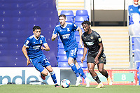 Viv Solomon-Otabor, Wigan Athletic,  quickly closed down by Andre Dozzell of Ipswich Town and Stephen Ward of Ipswich Town during Ipswich Town vs Wigan Athletic, Sky Bet EFL League 1 Football at Portman Road on 13th September 2020