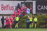 referee Caroline Lanssens taking the matchball and the players enter the field pictured before a female soccer game between Sporting Charleroi and Eendracht Aalst on the 8th matchday in play off 2 of the 2020 - 2021 season of Belgian Scooore Womens Super League , tuesday 18 th of May 2021 in Marcinelle , Belgium . PHOTO SPORTPIX.BE | SPP | STIJN AUDOOREN