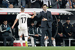 Real Madrid CF's Lucas Vazquez and coach Santiago Solari during the King's Cup semifinals match. February 27,2019. (ALTERPHOTOS/Alconada)
