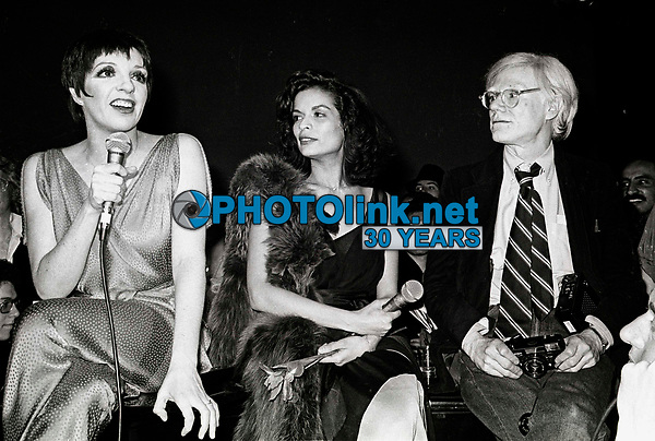 Minelli Jagger Warhol6868.JPG<br /> New York, NY 1978 FILE PHOTO<br /> Liza Minelli, Bianca Jagger, Andy Warhol<br /> Studio 54<br /> Digital photo by Adam Scull-PHOTOlink.net