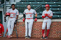 AZL Reds Fidel Castro (17), Wendell Marrero (31), and Sebastian Almonte (16) before an Arizona League game against the AZL Cubs 2 on July 23, 2019 at Sloan Park in Mesa, Arizona. AZL Cubs 2 defeated the AZL Reds 5-3. (Zachary Lucy/Four Seam Images)