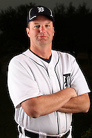 February 27, 2010:  Coach A.J. Sager of the Detroit Tigers poses for a photo during media day at Joker Marchant Stadium in Lakeland, FL.  Photo By Mike Janes/Four Seam Images