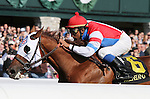 Groupie Doll and Rajiv Maragh win the 32nd running of the Thoroughbred Club of America Grade 2 $200,000 at Keeneland Racecourse for owner Fred F. Bradley, William Bradley, Carl Hurst, and Bretn Burns, and trainer William Bradley.  October 6, 2012.