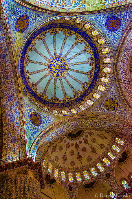 Fine Art Landscape Travel Photograph of the interior of the Sultan Ahmed Mosque also known as the Blue Mosque in Istanbul Turkey.