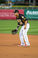 Salt Lake Bees first baseman Efren Navarro (28) during the game against the Tacoma Rainiers in Pacific Coast League action at Smith's Ballpark on August 31, 2015 in Salt Lake City, Utah. Salt Lake defeated Tacoma 6-5.  (Stephen Smith/Four Seam Images)