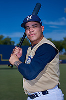 AZL Brewers Gold Roberto Molina (57) poses for a photo before an Arizona League game against the AZL Brewers Blue on July 13, 2019 at American Family Fields of Phoenix in Phoenix, Arizona. The AZL Brewers Blue defeated the AZL Brewers Gold 6-0. (Zachary Lucy/Four Seam Images)