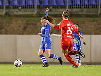 Emma Van Britsom (6) of AA Gent and Sheila Broos (20) of Woluwe in action during a female soccer game between FC Femina White Star Woluwe and AA Gent Ladies on the 13 th matchday of the 2020 - 2021 season of Belgian Scooore Womens Super League , friday 5 th of February 2021  in Woluwe , Belgium . PHOTO SPORTPIX.BE | SPP | SEVIL OKTEM