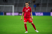 ORLANDO, FL - FEBRUARY 21: Jessie Fleming #17 of the CANWNT waits for the corner kick during a game between Argentina and Canada at Exploria Stadium on February 21, 2021 in Orlando, Florida.