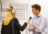 11-sept.-2013,Netherlands, Groningen,  Martini Plaza, Tennis, DavisCup Netherlands-Austria, Interview event manager Guus van Berkel  by local reporter   <br /> Photo: Henk Koster