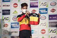 Recently new dad Wout van Aert (BEL/Jumbo-Visma) wins his 4th Belgian National Cyclocross Championships Title and receiving a baby tricolore on stage<br /> <br /> Elite Men's Race<br /> Belgian National CX Championships - Meulebeke 2021<br /> <br /> ©kramon