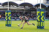 Scott Hamilton of Leicester Tigers scores a try during the LV= Cup Final match between Leicester Tigers and Northampton Saints at Sixways Stadium, Worcester on Sunday 18 March 2012 (Photo by Rob Munro, Fotosports International)