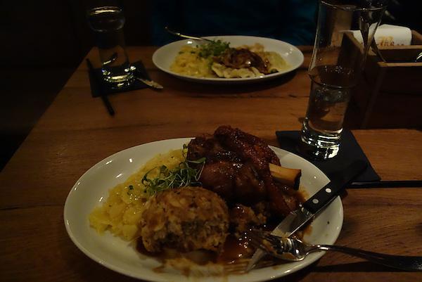 Steak dinner at restaurant, Memmingen, Germany.