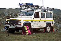 Furness Mountain rescue team 4x4 landrover fourwheel drive vehicle parked on the side of a mountain whilst the team search for a missing walker. This image may only be used to portray the subject in a positive manner..©shoutpictures.com..john@shoutpictures.com