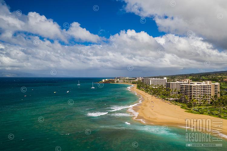 Aerial view of Ka'anapali Beach and the coastline, Maui.