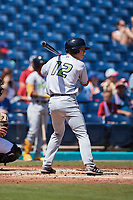 Milan Tolentino (21) of the Lynchburg Hillcats at bat against the Kannapolis Cannon Ballers at Atrium Health Ballpark on August 29, 2021 in Kannapolis, North Carolina. (Brian Westerholt/Four Seam Images)