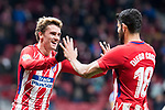 Atletico de Madrid Antoine Griezmann and Diego Costa celebrating a goal during La Liga match between Atletico de Madrid and Leganes at Wanda Metropolitano Stadium in Madrid , Spain. February 28, 2018. (ALTERPHOTOS/Borja B.Hojas)