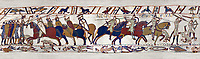 11th Century Medieval Bayeux Tapestry - Scene 52 - Death of Harold brothers, Lewine and Gyrd. Battle of Hastings 1066