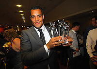 Pictured: Goalkeeper Michel Vorm with all three awards he has won. Thursday 10 May 2012<br />