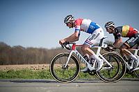 Dutch champion Mathieu Van der Poel (NED/Alpecin-Fenix) & teammate/Belgian champion Dries De Bondt (BEL/Alpecin-Fenix) atop the Holstraat<br /> <br /> 76th Dwars door Vlaanderen 2021 (MEN1.UWT)<br /> 1 day race from Roeselare to Waregem (184km)<br /> <br /> ©kramon