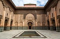 Marrakesh, Morocco.  Inner Courtyard, Medersa Ben Youssef, 16th. Century.