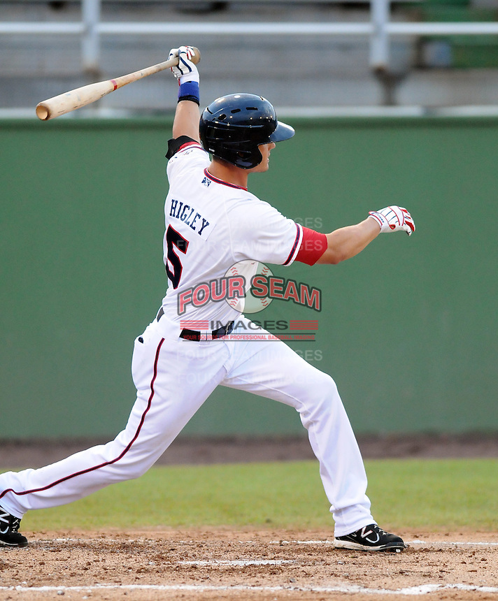 Outfielder J.R Higley (5) of the Potomac Nationals, Carolina League affiliate of the Washington Nationals, in a game against the Salem Red Sox on June 16, 2011, at Pfitzner Stadium in Woodbridge, Va. Photo by Tom Priddy / Four Seam Images