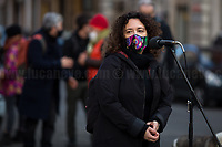 """Representative of Women House<br /> Lucha Y Siesta. <br /> <br /> Rome, 01/12/2020. Today, the Nuovo Cinema Palazzo Community held a public assembly (1.) in Rome's San Lorenzo district to protest against the eviction of the """"Nuovo Cinema Palazzo"""" completed by the Italian police forces in the early morning of the 25th of November and to demonstrate against the violent reaction of the Police forces when, in the evening of the same day, a large demo asked to have the chance to hold a public assembly in the square (Piazza dei Sanniti) of the cinema (2.). The public assembly of today saw the participation and the support & solidarity of the representatives of movements, actors, musicians, students, artists, politicians, and citizens of San Lorenzo who told their stories and memories related to the famous Rome's Art and culture occupation (For example, actor Marcello Fonte, Best Actor Award of the 2018 Cannes Film Festival for the film """"Dogman"""", was among the first group of occupiers of the Nuovo Cinema Palazzo). The assembly was interrupted due to bad weather and it was reconvened for Thursday 3rd of December at 12PM. <br /> The Nuovo Cinema Palazzo was occupied the 15th of April 2011, when citizens, movements, workers of the entertainment industry reopened the former """"Palazzo Cinema"""" to prevent the opening of a casino/gambling space. The illegal occupation was intended as a public hub of art, culture, sport and politics, an open space given back to the Community for exchange, discussion, studies, caring and sharing. <br /> <br /> Footnotes & Links:<br /> 1. http://bit.do/fLxfP <br /> 2. Demo And Clashes Against Nuovo Cinema Palazzo Eviction in Rome's San Lorenzo: http://bit.do/fLxgz<br /> Previous Stories about Nuovo Cinema Palazzo:  14.04.2018 - Nuovo Cinema Palazzo's Concert: """"7 Anni di CasiNò   7 Anni di Liberazione"""" http://bit.do/fLxkx"""