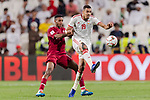 Ismail Ahmed Mohamed of United Arab Emirates (R) fights for the ball with Salem Al Hajri of Qatar (L) during the AFC Asian Cup UAE 2019 Semi Finals match between Qatar (QAT) and United Arab Emirates (UAE) at Mohammed Bin Zaied Stadium  on 29 January 2019 in Abu Dhabi, United Arab Emirates. Photo by Marcio Rodrigo Machado / Power Sport Images