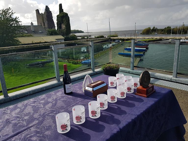 Fireball Trophies prior to presentation  at Lough Derg Yacht club