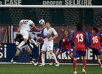 Jonathan Bornstein heads in a goal to tie 2-2 with Costa Rica to put the USA in first place of .CONCACAF 2010 World Cup qualifying, at RFK Stadium, in Washington DC, Wednesday, October 14, 2009.