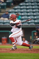 Altoona Curve designated hitter Edwin Espinal (14) at bat during a game against the New Hampshire Fisher Cats on May 11, 2017 at Peoples Natural Gas Field in Altoona, Pennsylvania.  Altoona defeated New Hampshire 4-3.  (Mike Janes/Four Seam Images)