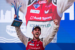Daniel Abt of Germany from Audi Sport ABT Schaeffler celebrates with the trophy at the podium after winning FIA Formula E Hong Kong E-Prix Round 2 at the Central Harbourfront Circuit on 03 December 2017 in Hong Kong, Hong Kong. Photo by Marcio Rodrigo Machado / Power Sport Images