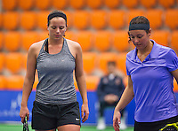 Rotterdam, Netherlands, December 17, 2015,  Topsport Centrum, Lotto NK Tennis, Ladys doubles: Nicolette van Uitert (L) and Kim Kilsdonk (NED)<br /> Photo: Tennisimages/Henk Koster
