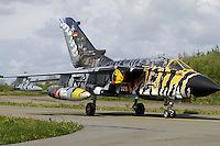 Tiger striped German Tornado. Specially painted aircraft is often of particular interest for plane spotters. Nato Tiger Meet is an annual gathering of squadrons using the tiger as their mascot. While originally mostly a social event it is now a full military exercise. Tiger Meet 2012 was held at the Norwegian air base Ørlandet.