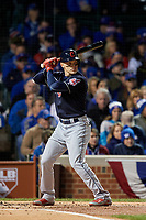 Cleveland Indians Brandon Guyer (6) bats in the second inning during Game 5 of the Major League Baseball World Series against the Chicago Cubs on October 30, 2016 at Wrigley Field in Chicago, Illinois.  (Mike Janes/Four Seam Images)