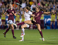 Kassey Kallman, Ashley Manning. Florida State defeated Virginia Tech, 3-2,  at the NCAA Women's College Cup semifinals at WakeMed Soccer Park in Cary, NC.