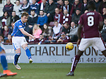 Hearts v St Johnstone…19.03.16  Tynecastle, Edinburgh<br />Liam Craig's shot hits the crossbar<br />Picture by Graeme Hart.<br />Copyright Perthshire Picture Agency<br />Tel: 01738 623350  Mobile: 07990 594431