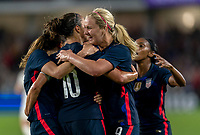 ORLANDO, FL - MARCH 05: Carli Lloyd #10 of the United States celebrates with Lindsey Horan #9 during a game between England and USWNT at Exploria Stadium on March 05, 2020 in Orlando, Florida.